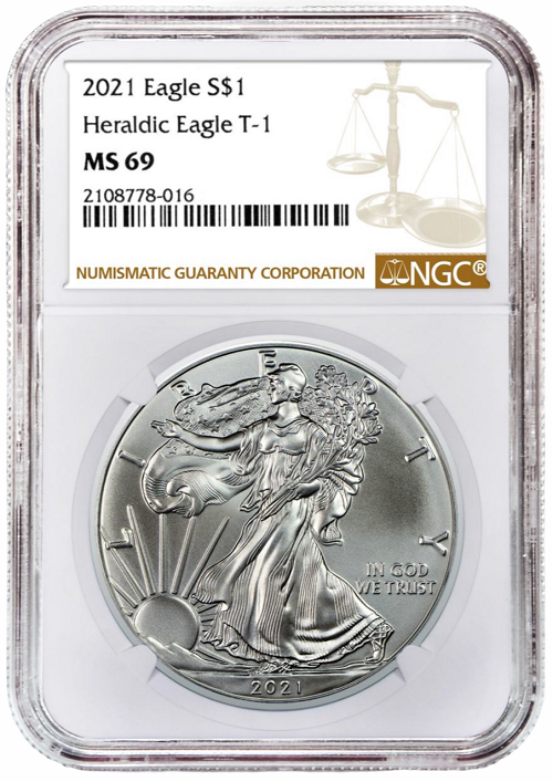 2021 1oz Silver American Eagle NGC MS69 - Brown Label