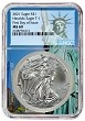 2021 1oz Silver American Eagle NGC MS69 - First Day Issue - Statue Of Liberty Core