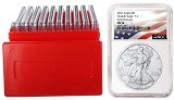 2021 1oz Silver American Eagle NGC MS70 - Early Releases - Flag Label - 10 Pack W/Case